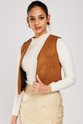 Curved Hem Suedette Waistcoat