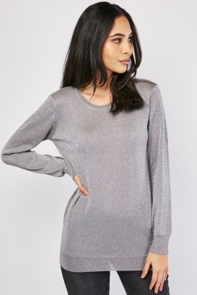 Long Sleeve Lurex Knit Sweater