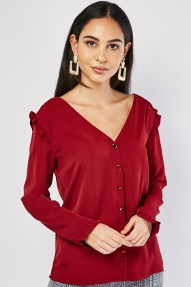 Ruffle Panel Silky Blouse