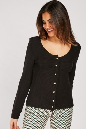 Scallop Hem Button Front Cardigan