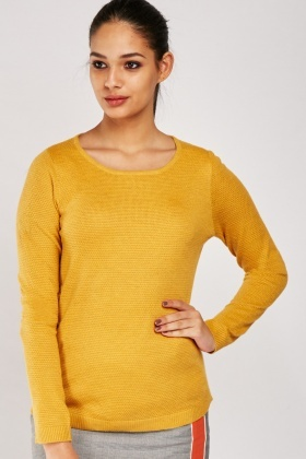Textured Ribbed Contrast Jumper