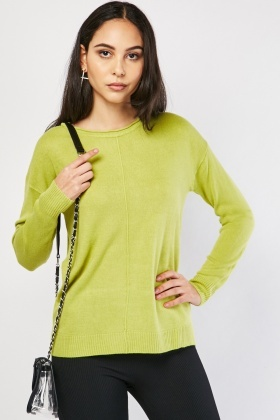 Round Neck Rib Edging Jumper