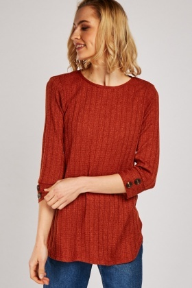 Button Detail Jersey Knit Top