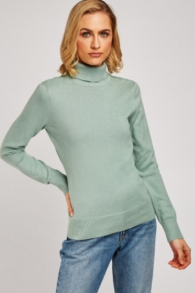 Ribbed Roll Neck Knit Jumper