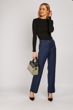 Straight Fit Navy Trousers
