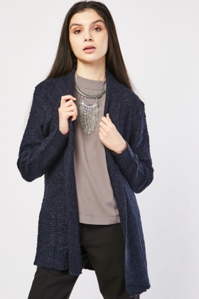 Textured Bobble Knit Open Front Cardigan