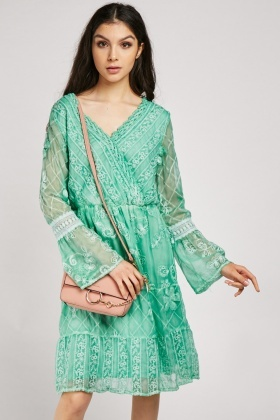 Embroidered Sheer Wrap Dress