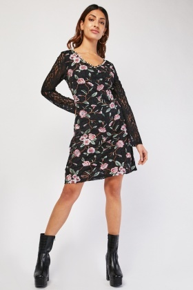 Flower Embroidered Lace Shift Dress