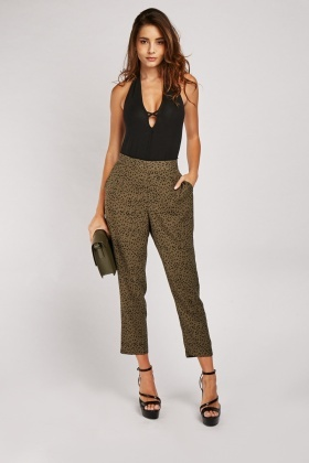 High Waist Speckled Print Trousers