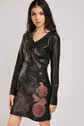 Paisley Floral Print Leather Dress