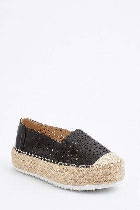 Black Perforated Espadrille Style Shoes