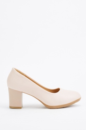 Block Heel Beige Pumps