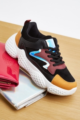 Colour Block Stitched Trainers