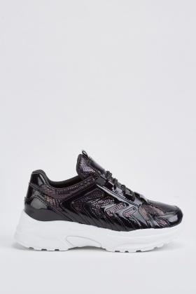 Shiny Patterned Low Top Trainers