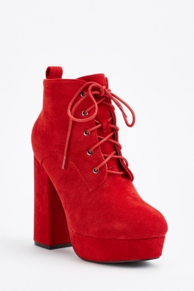 Suedette Lace Up Ankle Boots