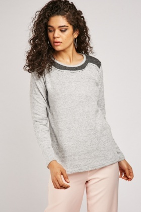 Encrusted Two-Tone Jersey Knit Top