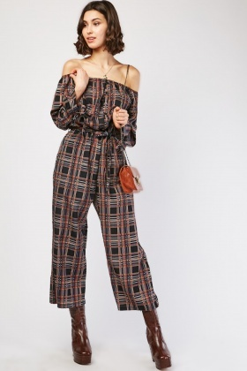 Multi-Coloured Plaid Jumpsuit