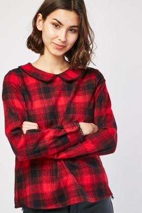 Peter Pan Collar Tartan Blouse