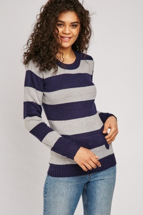 Pouch Pocket Front Striped Jumper