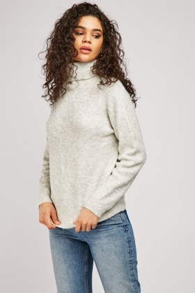 Roll Neck Bobble Knit Jumper