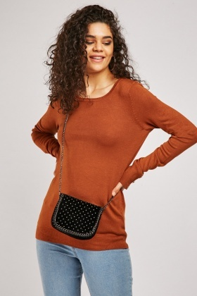 Round Neck Plain Knit Sweater