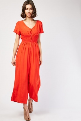 Shirred Panel Wide Leg Jumpsuit