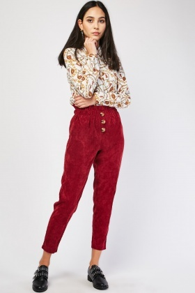 Corduroy High Waist Paper Bag Trousers