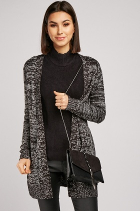 Open Front Speckled Long Line Cardigan