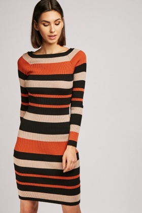 Ribbed Colour Block Knit Dress