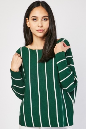 Slouchy Vertical Striped Knit Top