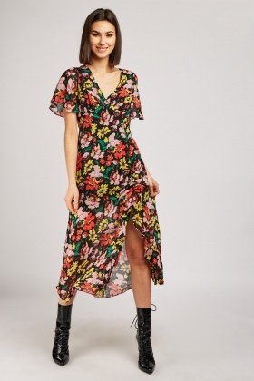 Vintage Flower Print Chiffon Dress
