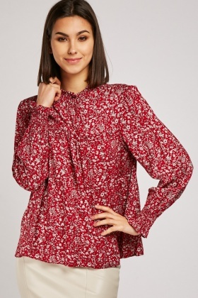 Calico Printed Smock Blouse