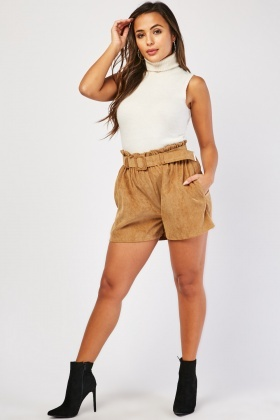 Corduroy Paperbag Belted Shorts