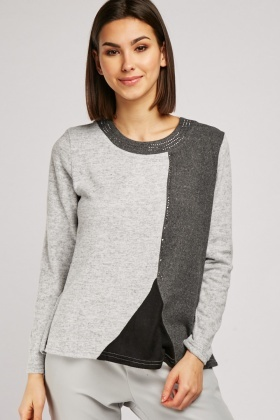 Encrusted Colour Block Jersey Knit Top