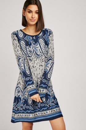 Encrusted Paisley Pattern Knit Dress