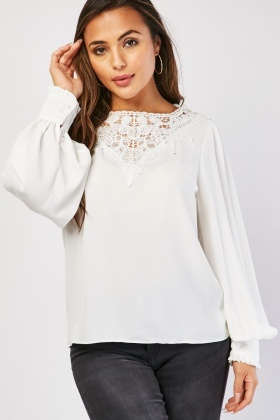 Faux Pearl Lace Insert Blouse