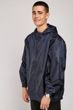 Hooded Navy Rain Jacket