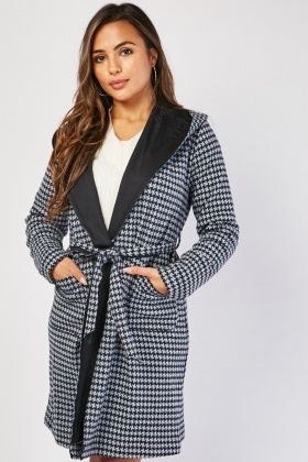 Houndstooth Long Line Coat