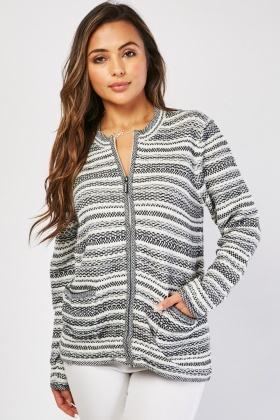Knitted Zipper Front Cardigan