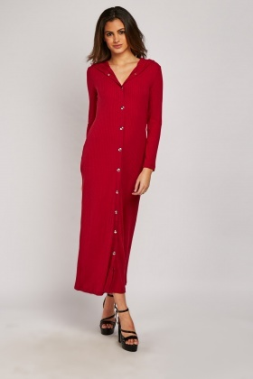 Ribbed Hooded Button Up Maxi Dress