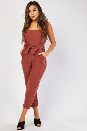 Ruffle Trim Crop Jumpsuit