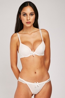 Scallop Lace Trim Push Up Bra And Brief Set