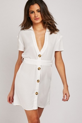Belted Chiffon Mini Dress