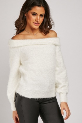 Eyelash Knit Off Shoulder Jumper