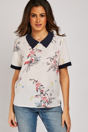 Floral Print Collared Top