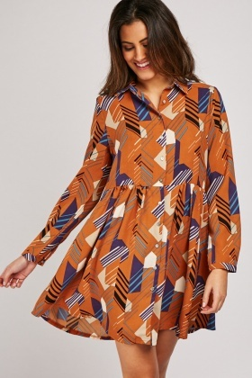 Geometric Striped Shirt Dress