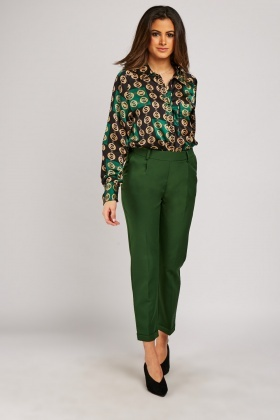 Green Rolled Hem Tapered Trousers
