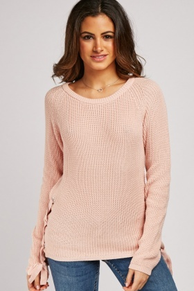 Lace Up Side Chunky Knit Jumper