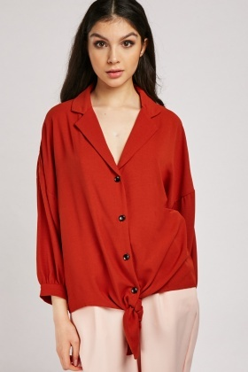 Lapel Front Rust Blouse