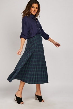 Pleated Tartan Midi Skirt